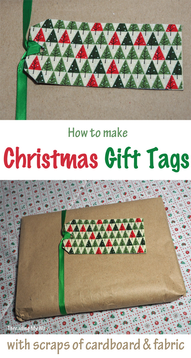 How to make Christmas gift tags with small scraps of fabric and cardboard offcuts ~ Threading My Way