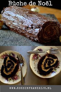 Klassiek Frans kerst dessert: bûche de noël - kerst boomstam