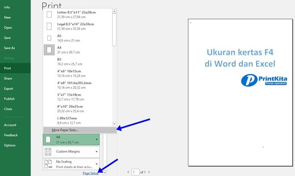 Cara merubah ukuran kertas F4 di word