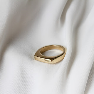 A solid gold minimal signet ring which was made at home using the Magpiette Ring Carving DIY Kit and lost-wax casting method