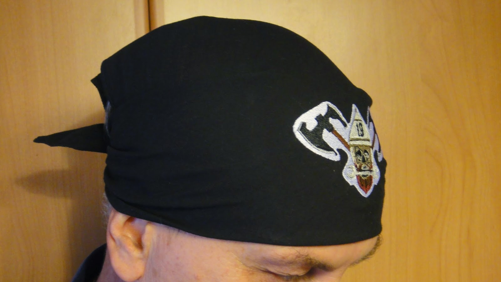 Черная бандана с логотипом, бандана косынка, байкерская бандана на лицо