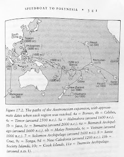 Page 341. Figure 17.2. The paths of the Austronesian expansion, with approximate dates when each region was reached. 4a = Borneo, 4b = Celebes, 4c = Timor (around 2500 B.C.). 5a = Halmahera (around 1600 B.C.). 5b = Java, 5c = Sumatra (around 2000 B.C.). 6a = Bismarck Archipelago (around 1600 B.C.). 6b = Malay Peninsula, 6c - Vietnam (around 1000 B.C.). 7 = Solomon Archipelago (around 1600 B.C.). 8 = Santa Cruz, 9c = Tonga, 9d = New Caledonia (around 1200 B.C.). 10b = Society Islands, 10c = Cook Islands, 11a = Tuamotu Archipelago (around A.D. 1).