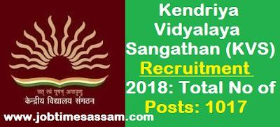 Kendriya Vidyalaya Sangathan (KVS) Recruitment 2018: Total No of Posts: 1017