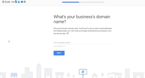 G suite-enter-domain name-gmail account with own domain
