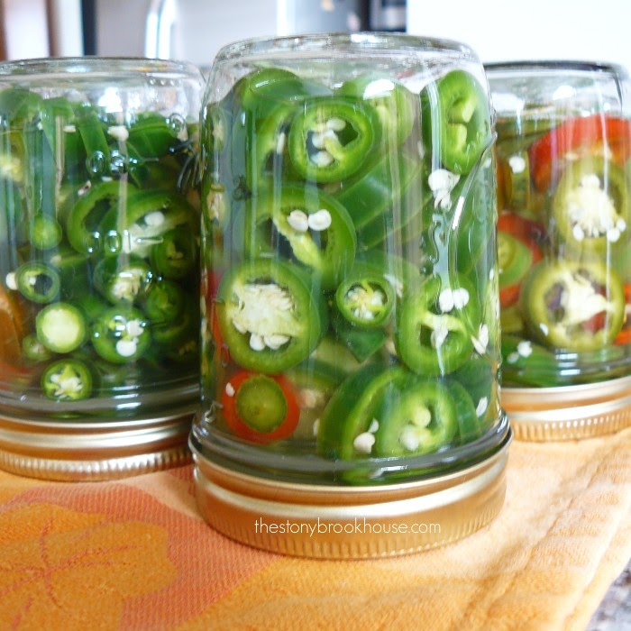 Jalapeño jars flipped to seal