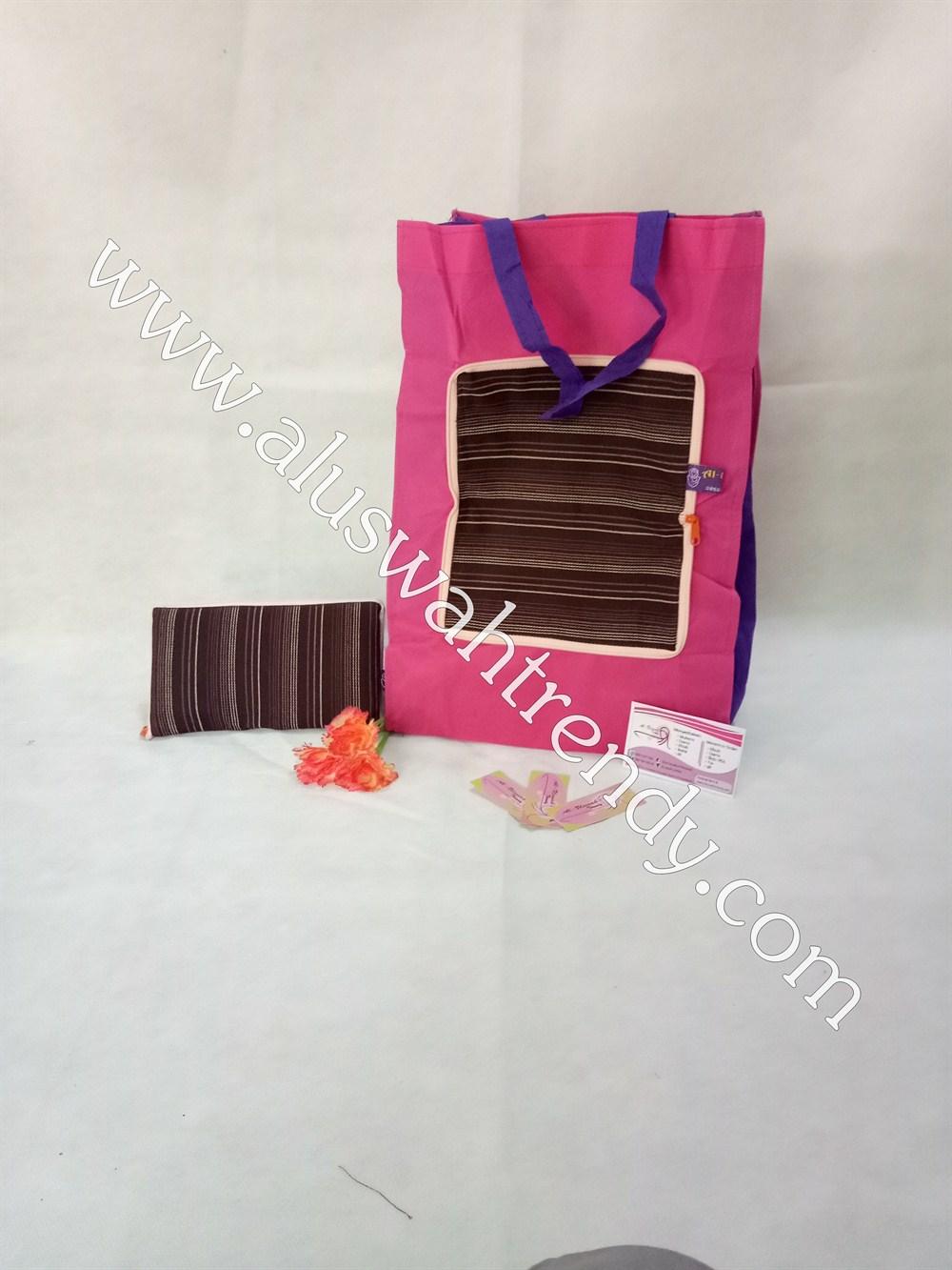 Tas Belanja Lipat Pink Motif Garis-Garis 022