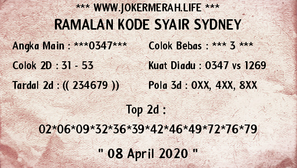 Syair Sidney Rabu 08 April 2020 - Joker Merah SDY
