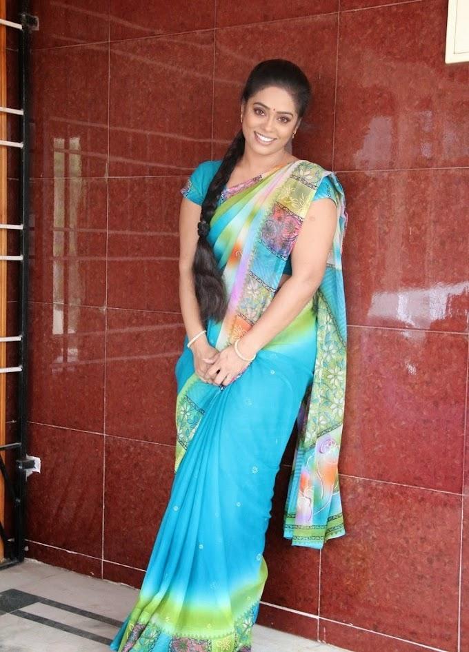 Serial Actress Devi Priya Hot Photos In Blue Saree