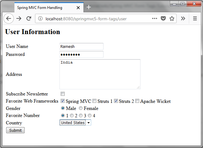 Spring MVC JSP Form Tags Tutorial