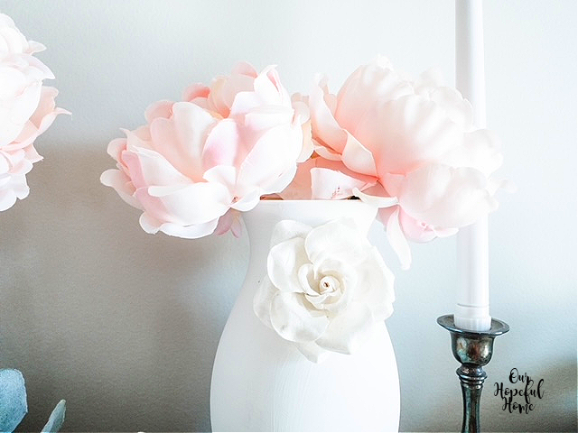 large faux pink peonies white vase silver candlestick