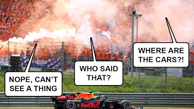 """The crowd fogged in orange flare smoke, saying things like """"nope, can't see a thing"""", """"who said that?"""" and """"where are the cars?!"""""""