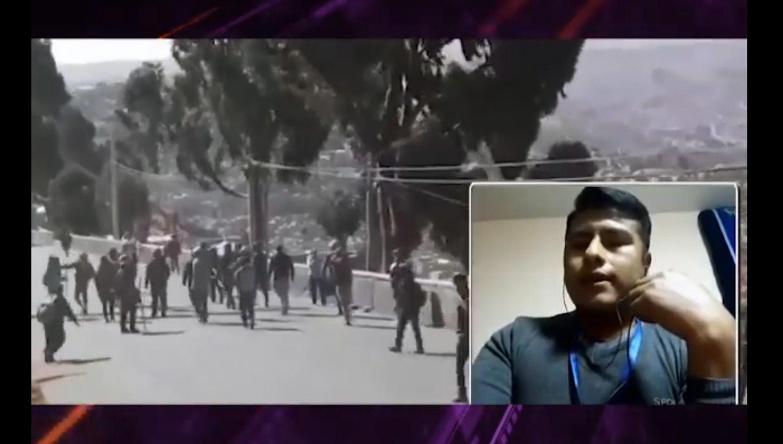 Las imágenes muestran las protestas registradas el pasado viernes 14 de agosto, en la autopista La Paz-El Alto, y en la fotografía pequeña aparece el periodista Omar Escóbar / CAPTURA PANTALLA POSDATA
