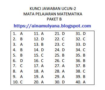 SOAL DAN KUNCI JAWABAN UCUN 2 MATEMATIKA SMP TAHUN 2018 – 2019 (PAKET B)
