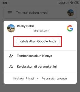 tombol untuk masuk halaman kelola akun Google di hp