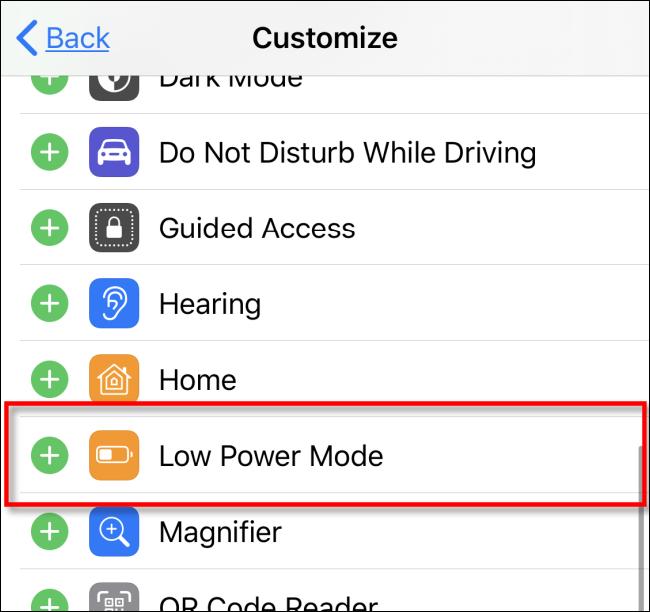 أضف وضع الطاقة المنخفضة إلى مركز التحكم في iOS iPadOS