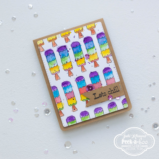 Watercolor card with ice-cream candies with peek-a-boo designs stamps
