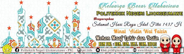 KBM PNL Selamat Hari Raya Idul Fitri 1437 H / 2016 M.
