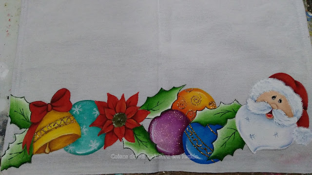 pintura em tecido barrado natalino