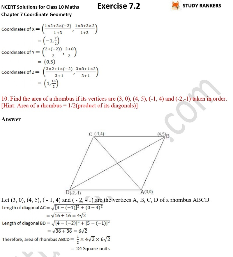 NCERT Solutions for Class 10 Maths Chapter 7 Coordinate Geometry Exercise 7.2 Part 5