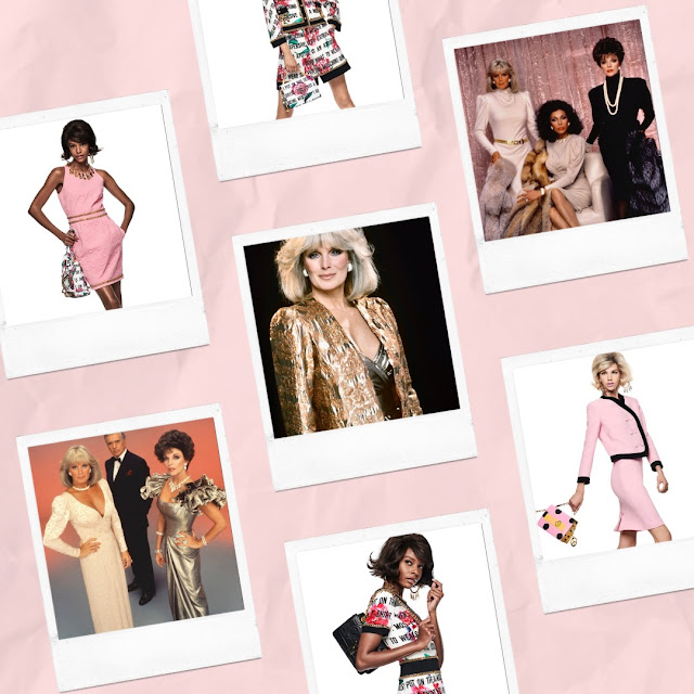 Moschino and Dynasty 1980s power dressing collage