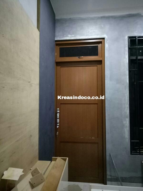 Pintu Panel Aluminium Urat Kayu Cantik