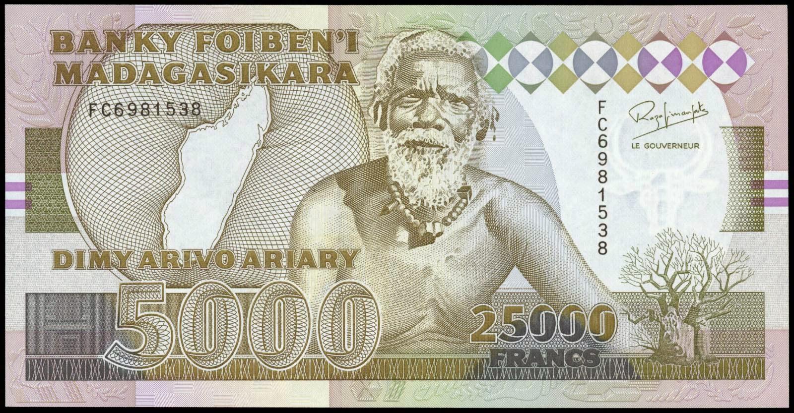 Madagascar banknotes 25000 Francs 5000 Ariary