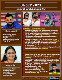 Daily Malayalam Current Affairs 04 Sep 2021