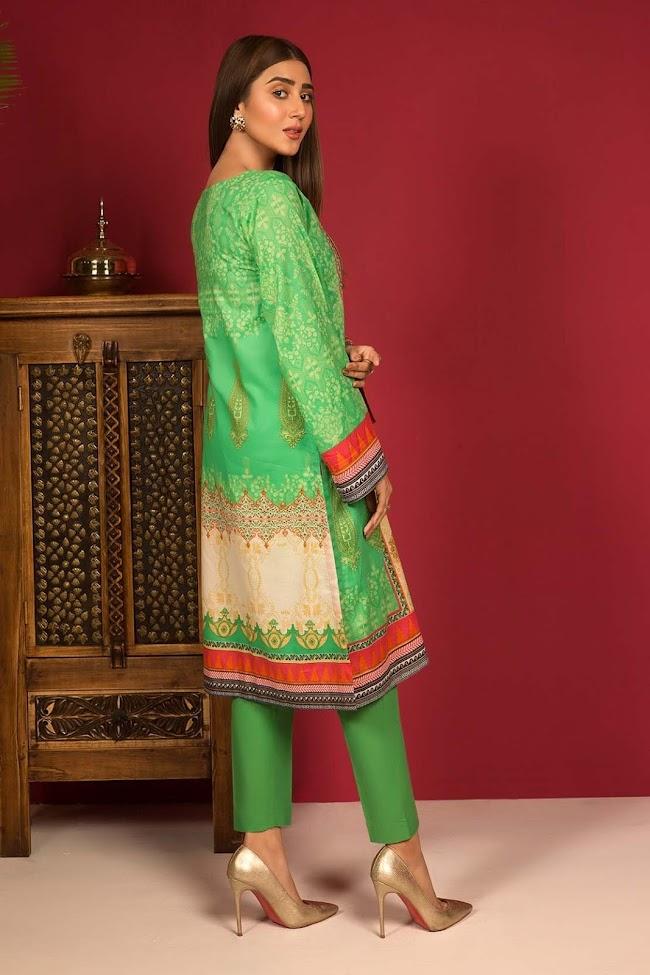 Warda Parrot color lawn shirt