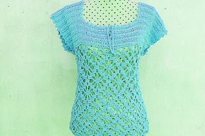 5 - Crochet IMAGEN Blusa verde a crochet y ganchillo muy fácil y sencilla. MAJOVEL CROCHET