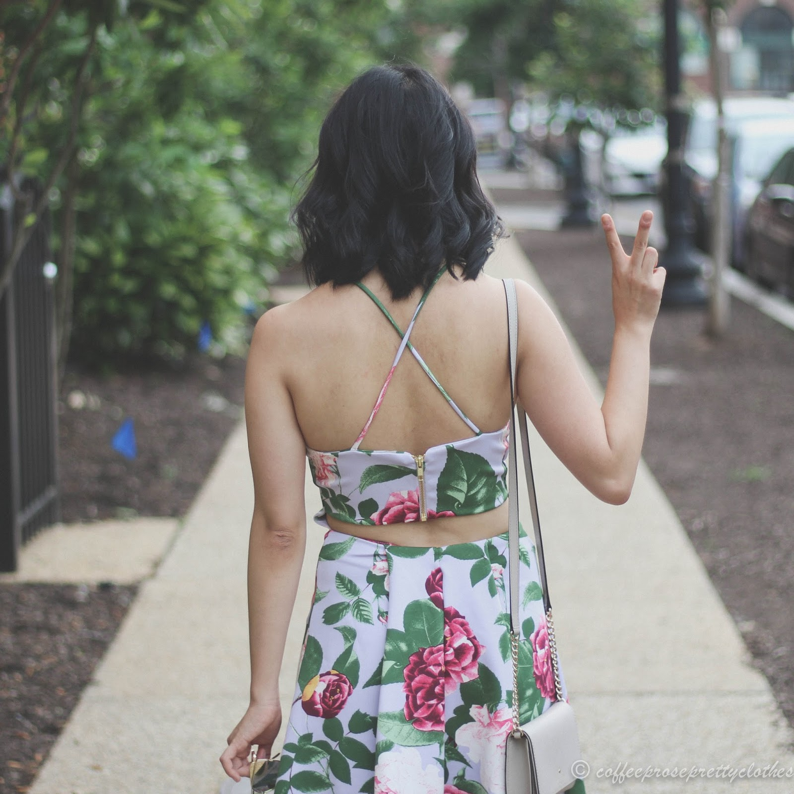 Scuba floral dress, backless dress, Lace up magenta heels, Zara heels, rose gold sunglasses