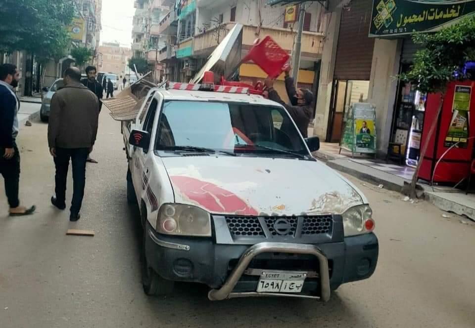ازاله117 مخالفه إشغال طريق بمناطق التمليك بكفر الدوار