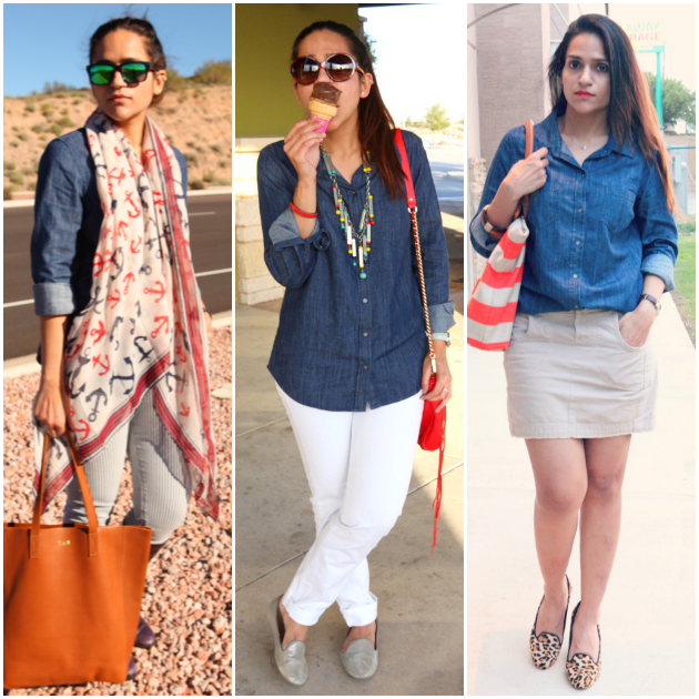 Three Ways To Style A Dark Chambray Shirt, Tanvii.com