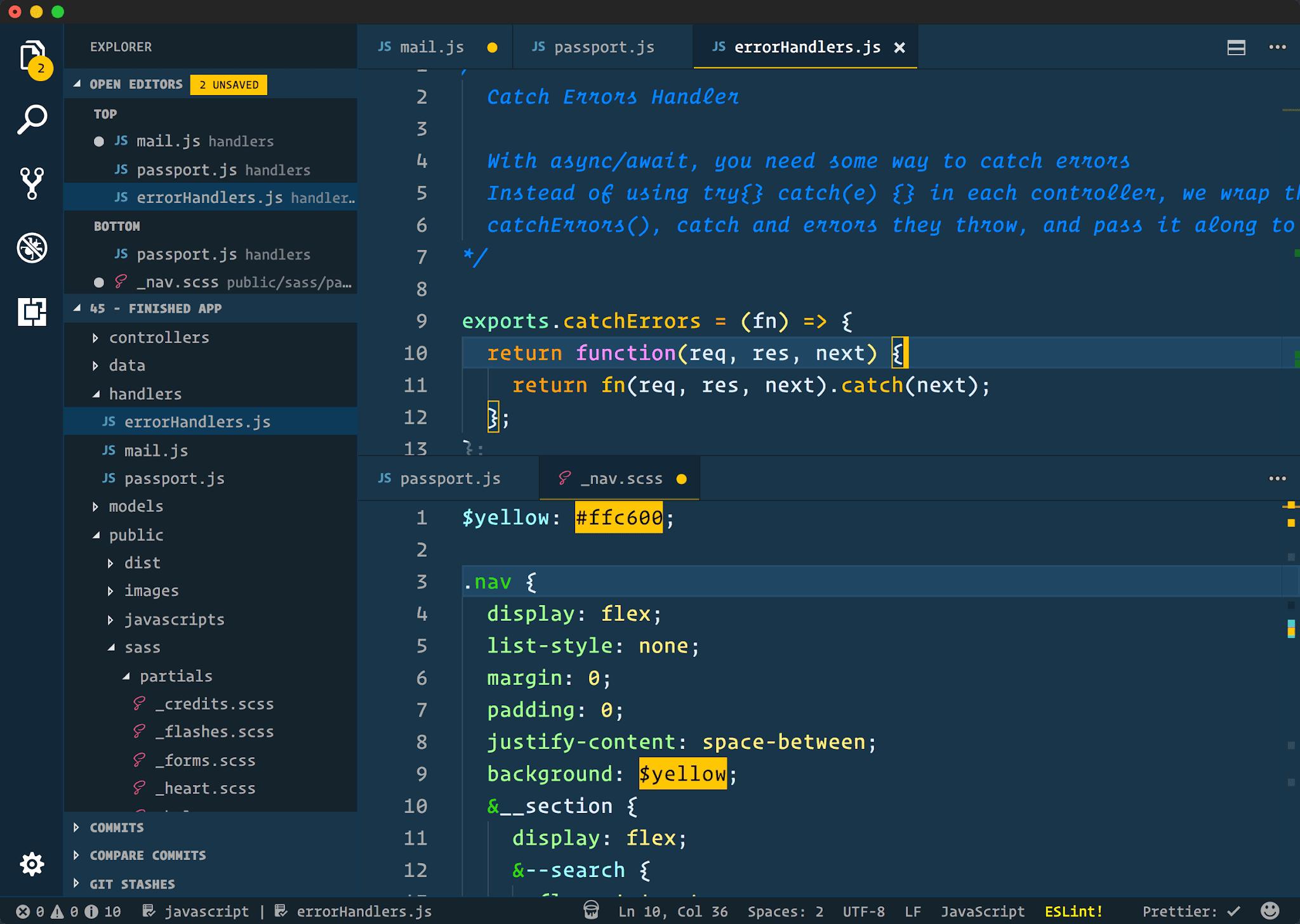 cobalt2 theme in vs code 2021