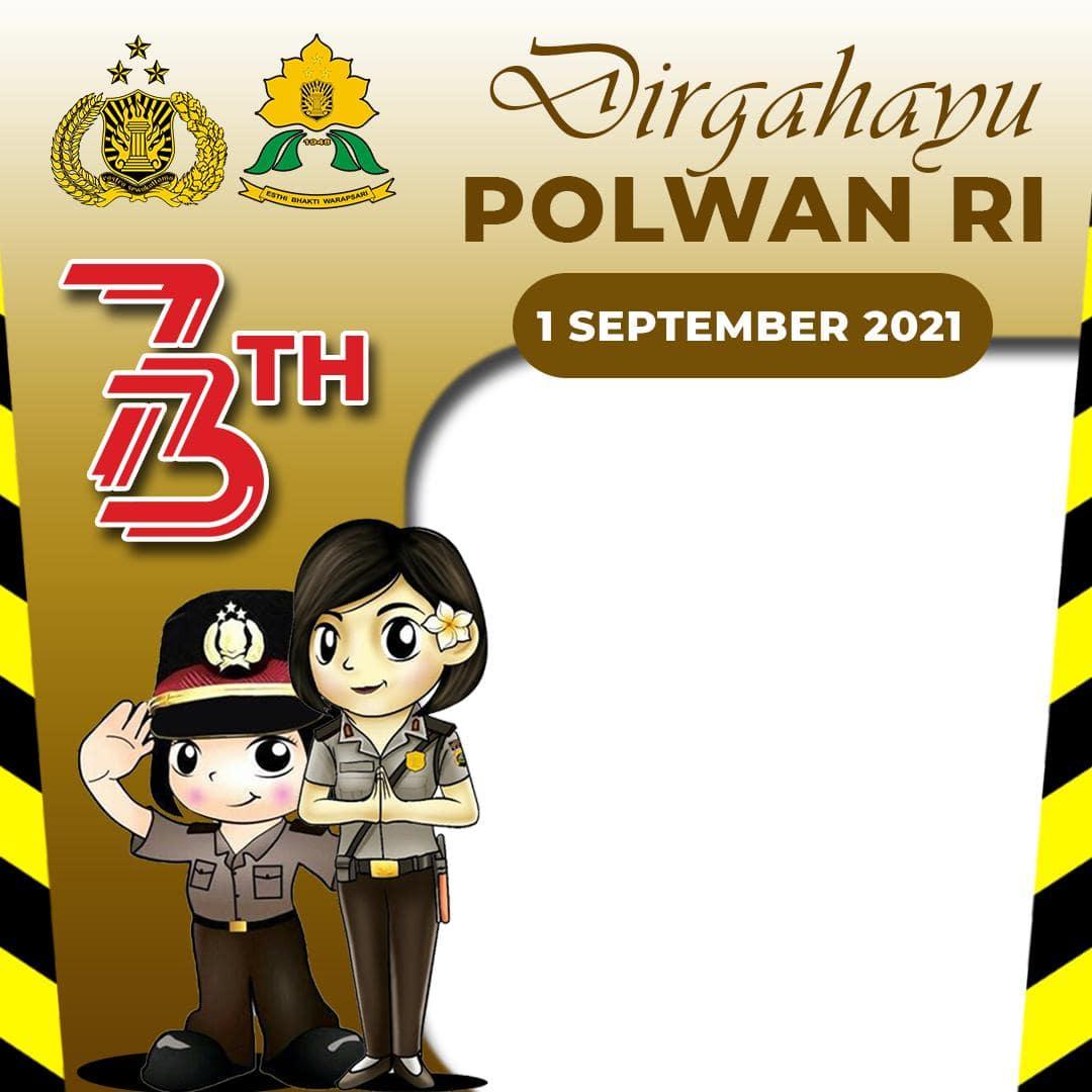 Template Desain Frame Bingkai Twibbon Ulang Tahun Polwan 2021
