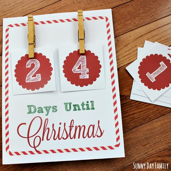 how many days until christmas free christmas countdown printable - Number Of Days Until Christmas