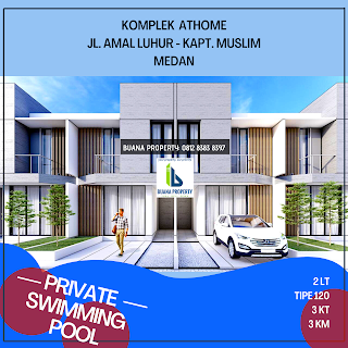 Rumah Modern dilengkapi dengan Kolam Renang Pribadi di Jl. Amal Luhur Kapten Muslim Medan - Komplek Athome