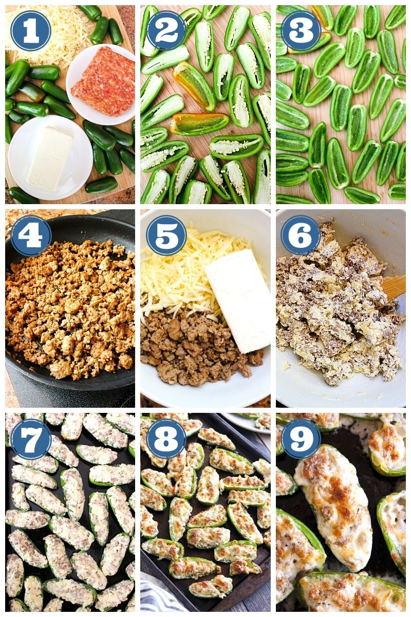 Collage of images of Sausage Jalapeño Poppers being made.