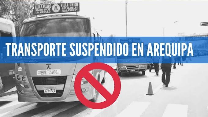 NUEVAMENTE SUSPENDEN TRANSPORTE POR DOS SEMANAS EN AREQUIPA