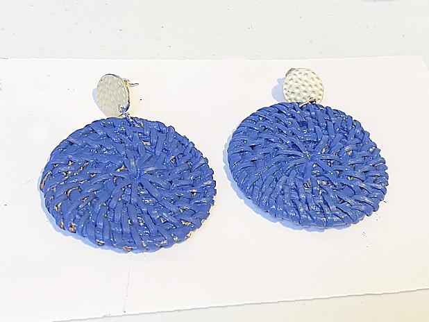 blue rattan circle earrings