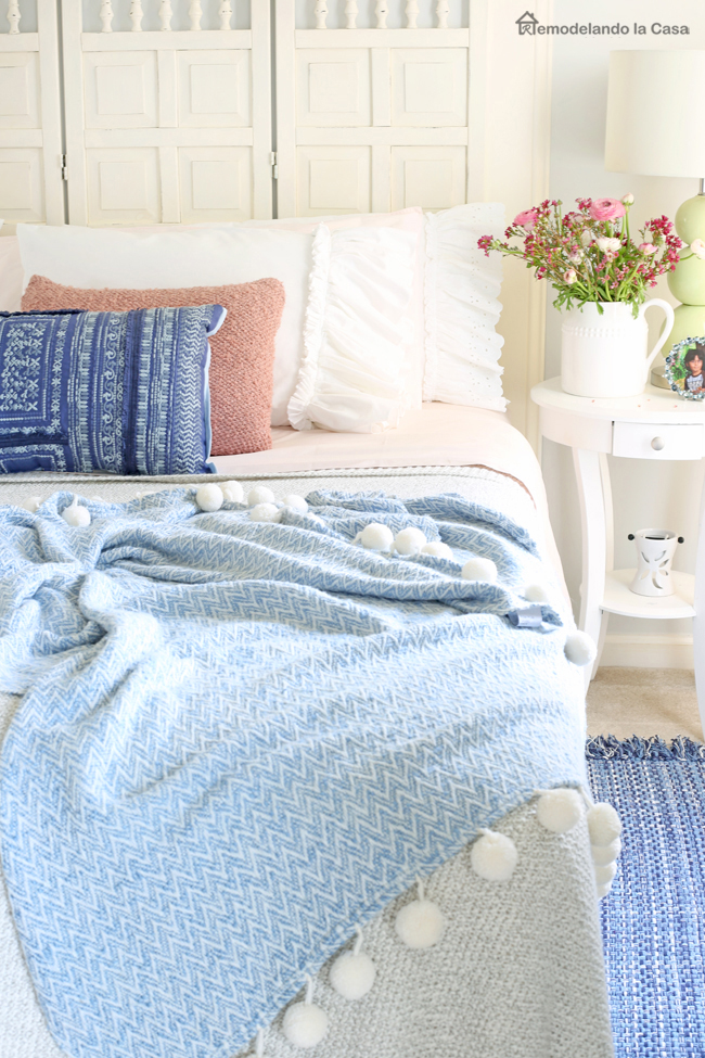 blush pink and blue bedroom decor