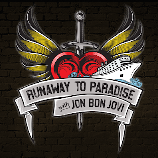 Runaway to Paradise with Jon Bon Jovi logo featuring a stylised heart and winged dagger and a cruise ship.