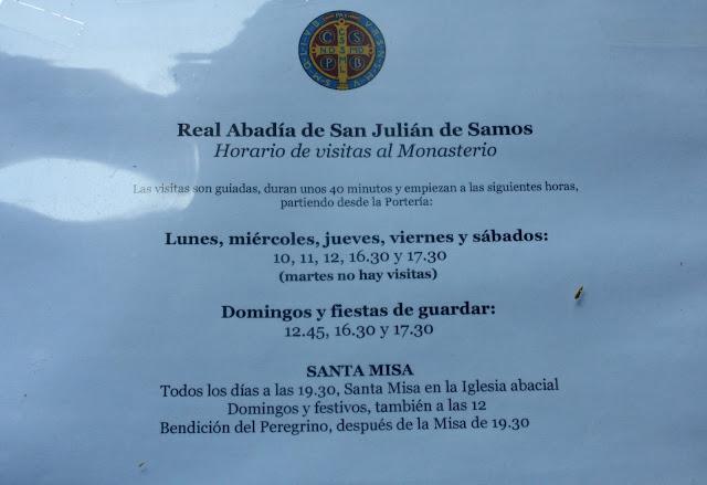 Horarios del Monasterio de Samos