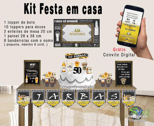 Boteco Cerveja Bohemia dicas e ideias para decoração de festa personalizados kit festa em casa