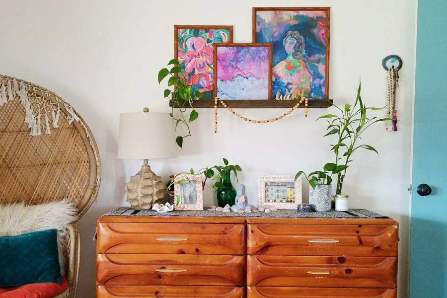How To Decorate Above Bedroom Dresser With Art And Color Boho Style
