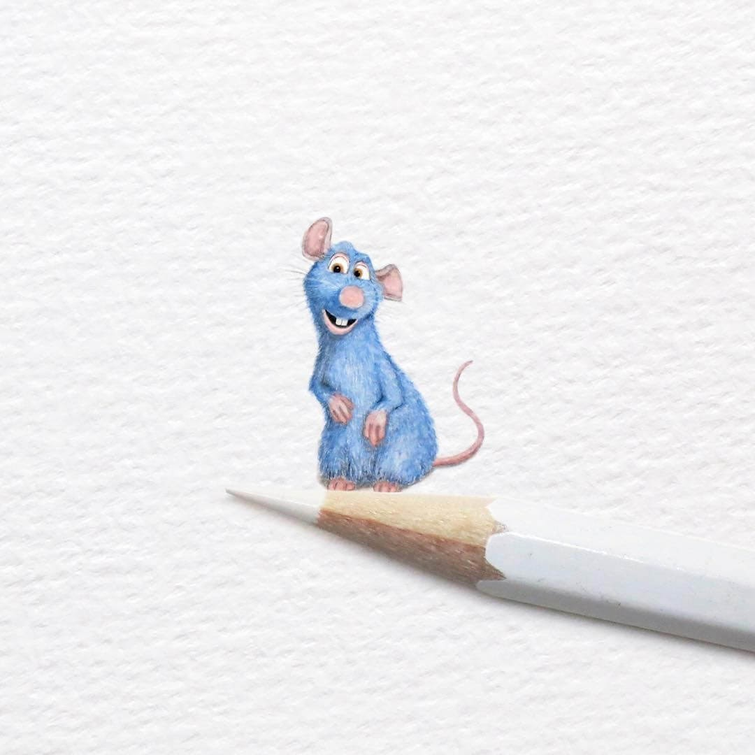 09-Remy-from-Ratatouille-Frank-Holzenburg-Animals-and-Fantasy-Creatures-Tiny-Paintings-www-designstack-co