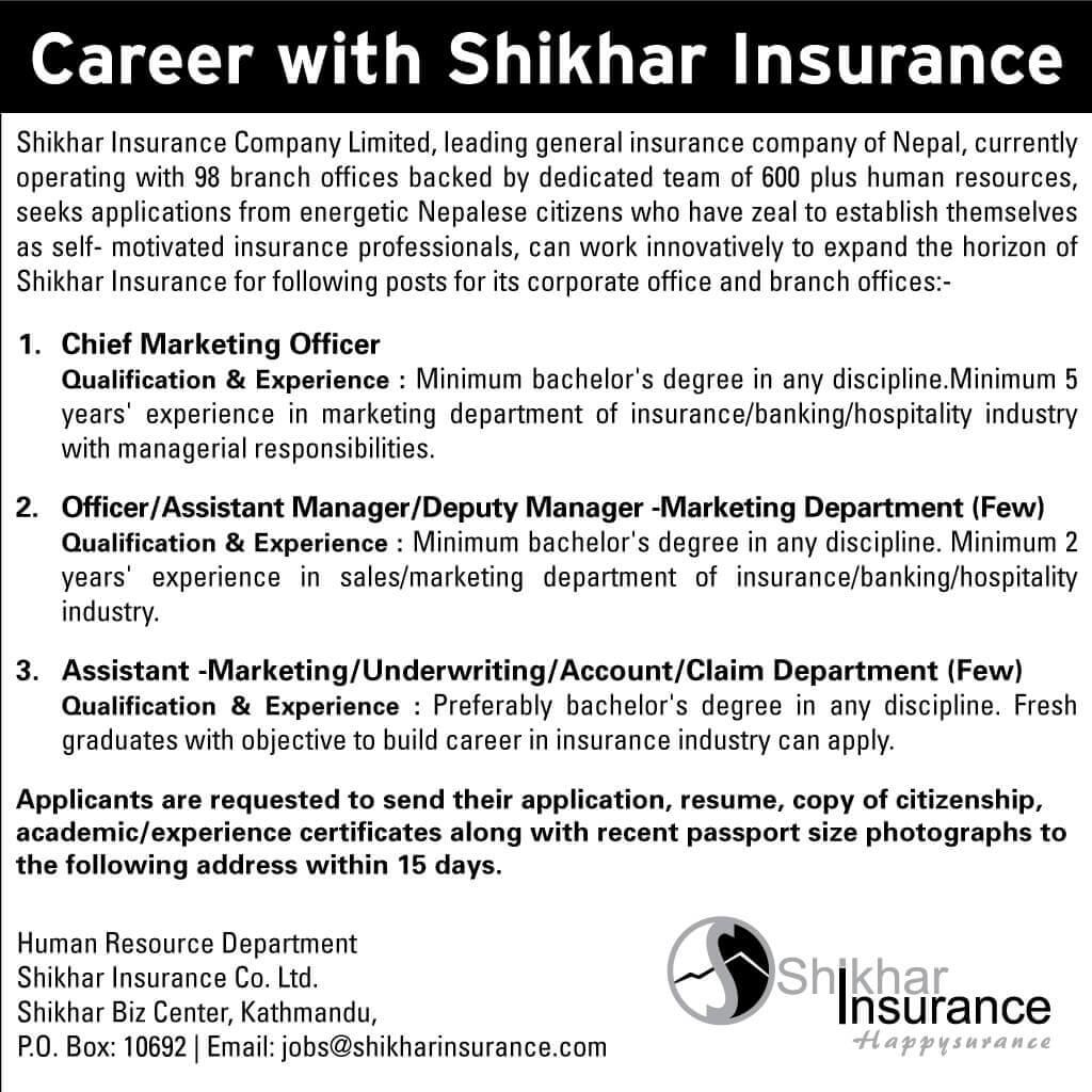 Career with Shikhar Insurance Company Limited