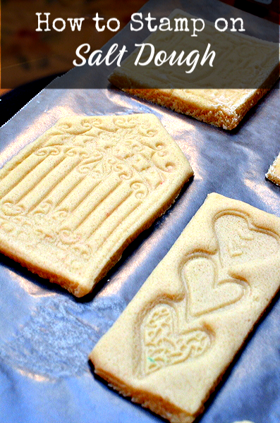 Stamping on Salt Dough ~ http://anartfulmom.com