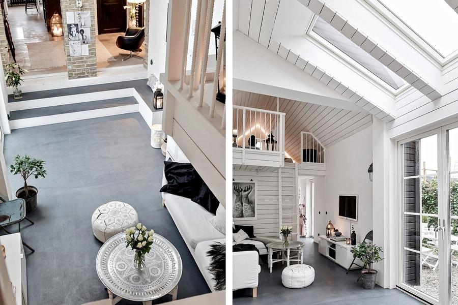 Skandynawski, biały domek z rustykalnymi elementami, wystrój wnętrz, wnętrza, urządzanie mieszkania, dom, home decor, dekoracje, aranżacje, styl skandynawski, scandinavian style, styl rustykalny, rustic, cegła, drewno, biel, white, salon, living room, cegła