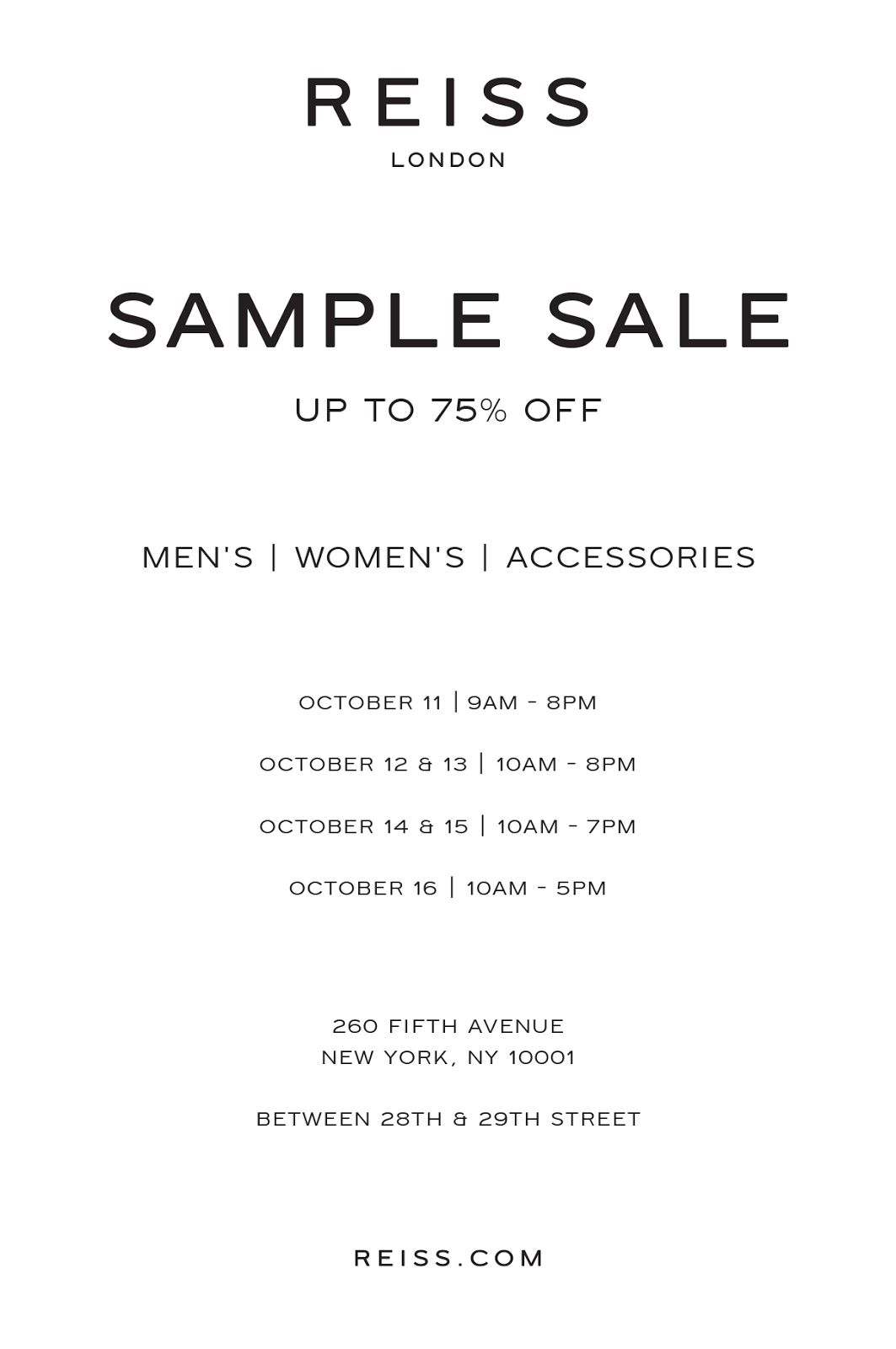 fashionably petite: Reiss London Sample Sale - 10/11 - 10/16/16