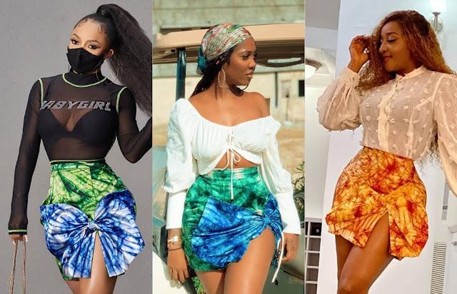"Who Wore The ""Adire Bow Skirt"" Better? Ini Edo, Toke Makinwa, or Tiwa Savage."